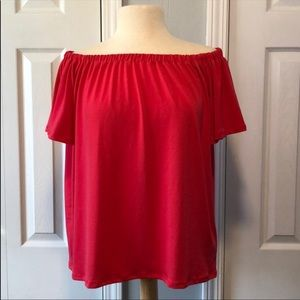 Halogen pink off shoulder top